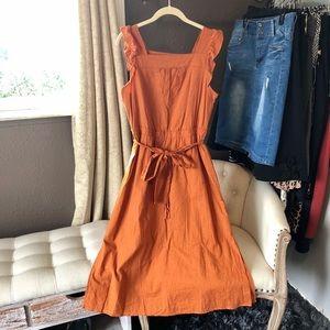 New rust orange ruffle midi dress